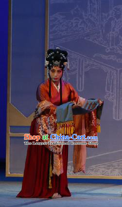 Chinese The Purple Hairpin Kun Opera Female Costumes Peking Opera Garment Red Dress Apparels and Hair Accessories