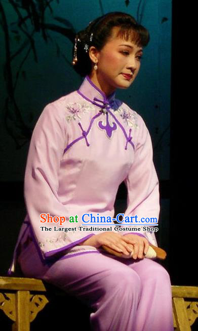 Chinese Shaoxing Opera Young Female Sister Yuqing Garment Costumes and Headdress Yue Opera Hua Tan Country Woman Dress Apparels