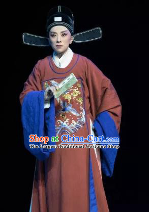 Chinese Yue Opera Young Male Wang Yangming Costumes and Headwear Shaoxing Opera Xiaosheng Garment Apparels Official Embroidered Robe