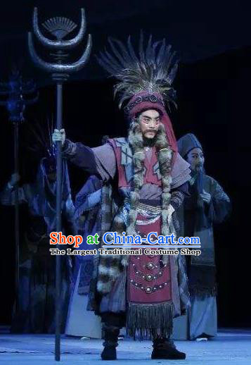 Wang Yangming Chinese Yue Opera Laosheng Costumes and Headwear Shaoxing Opera Eldely Male Garment Chieftain Apparels
