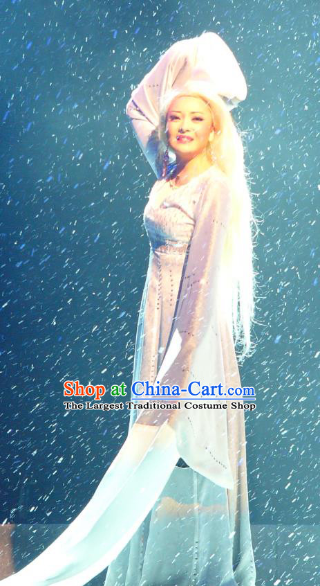Chinese Shaoxing Opera Actress Xue Yao Garment Costumes and Headdress Painted Skin Hua Pi Yue Opera Fairy White Dress Apparels
