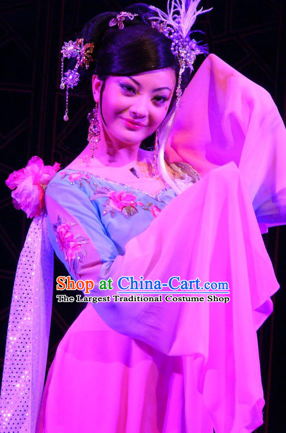Chinese Shaoxing Opera Hua Tan Garment Costumes and Headdress Painted Skin Hua Pi Yue Young Mistress Wang Dress Apparels