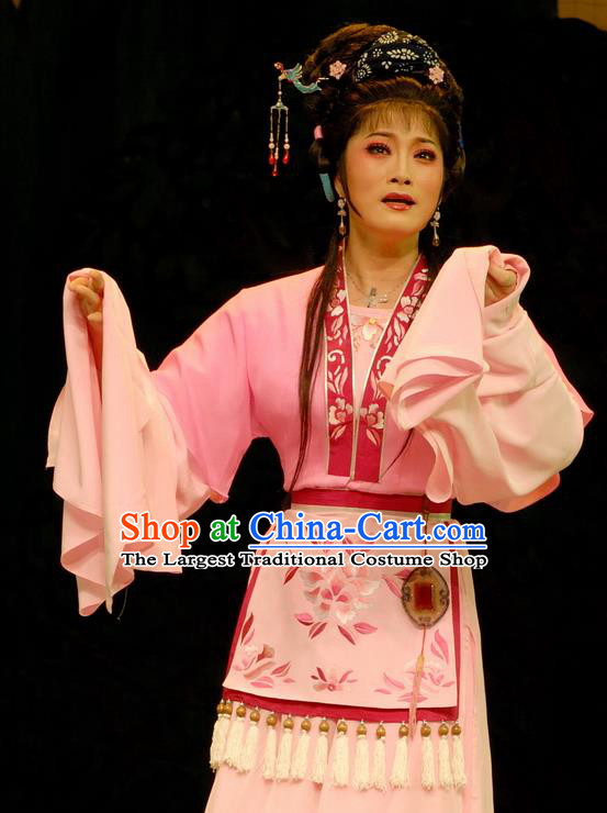 Chinese Shaoxing Opera Young Female Pink Dress Costumes and Headpieces Empress Remarry Yue Opera Queen Chong Xiu Garment Apparels
