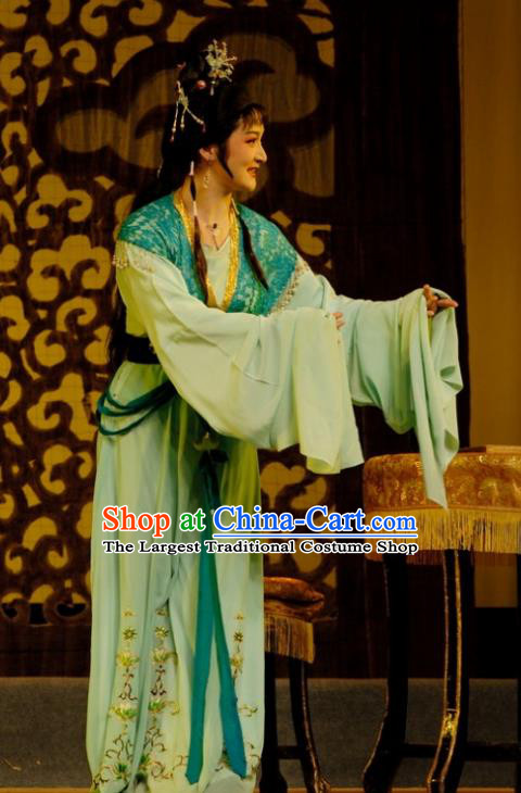 Chinese Shaoxing Opera Hua Tan Green Dress Costumes Apparels and Headdress Empress Remarry Yue Opera Noble Lady Gao Yunlan Garment