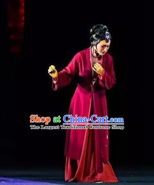 Chinese Shaoxing Opera You Female Red Dress Costumes and Headpieces Xiao Xiao Chun Yu Yue Opera Hua Tan Yu Wen Apparels Garment