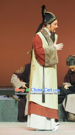Su Qin Chinese Yue Opera Elderly Male Garment and Headwear Shaoxing Opera Laosheng Apparels Costumes Ministry Councillor Clothing