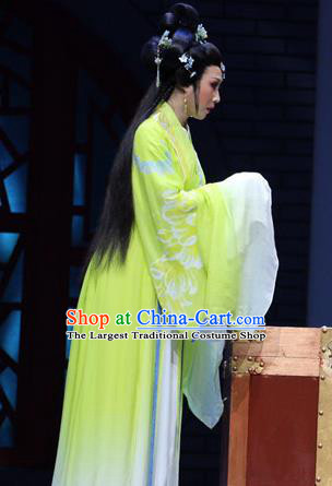 Chinese Shaoxing Opera Hua Tan Green Apparels Costumes and Headpieces Wu Yi Lane Yue Opera Young Lady Dress Xi Daomao Garment