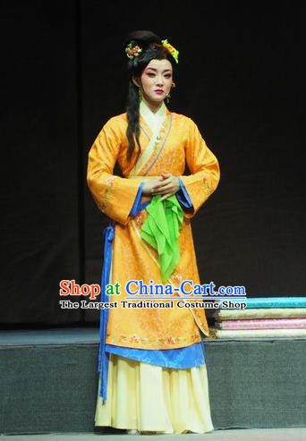 Chinese Shaoxing Opera Actress Young Lady Dress Costumes and Headpieces Su Qin Yue Opera Hua Tan Garment Apparels