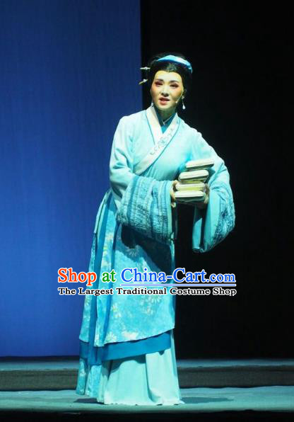 Chinese Shaoxing Opera Country Woman Blue Dress Costumes and Headpieces Su Qin Yue Opera Hua Tan Young Female Garment Apparels