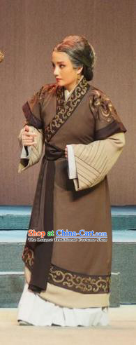 Chinese Shaoxing Opera Elderly Female Brown Dress Costumes and Headdress Su Qin Yue Opera Country Old Woman Garment Apparels