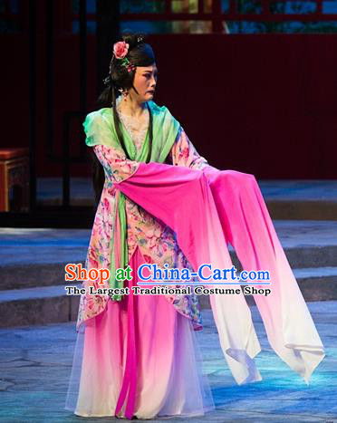 Chinese Shaoxing Opera Hua Tan Actress Rosy Dress Ren Heart Medicine Costumes and Headpieces Yue Opera Apparels Young Female Garment