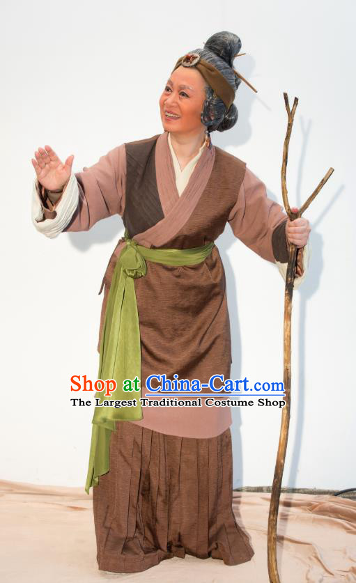 Chinese Shaoxing Opera Elderly Female Dress Ren Heart Medicine Hua Tan Costumes and Headdress Yue Opera Apparels Old Woman Garment