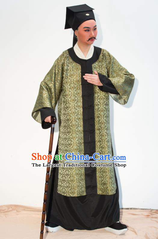 Chinese Yue Opera Middle Age Man Costumes Apparels and Headwear Ren Heart Medicine Shaoxing Opera Laosheng Elderly Male Garment