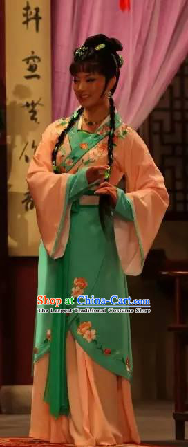 Chinese Shaoxing Opera Xiao Dan Garment Apparels Costumes and Headpieces Legend of White Snake Yue Opera Young Lady Xiao Qing Dress