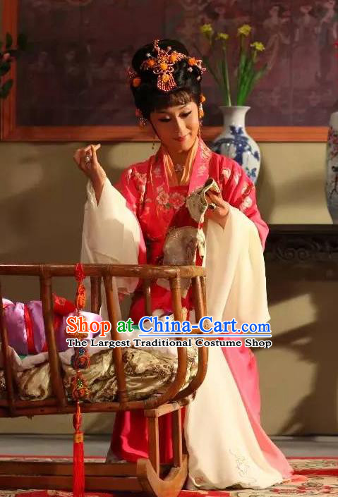 Chinese Shaoxing Opera Hua Tan Garment Costumes Apparels and Headpieces Legend of White Snake Yue Opera Actress Bai Suzhen Dress