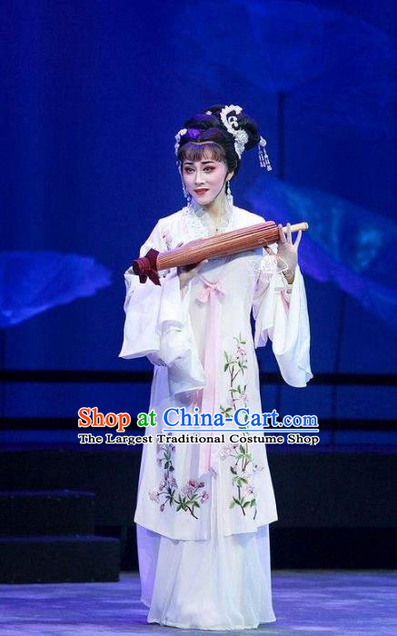 Chinese Shaoxing Opera Actress Bai Suzhen Garment Costumes Apparels and Headdress Legend of White Snake Yue Opera Hua Tan Dress