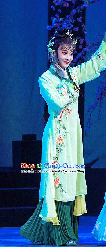 Chinese Shaoxing Opera Xiaodan Actress Garment Costumes Apparels and Headdress Legend of White Snake Yue Opera Young Lady Green Dress
