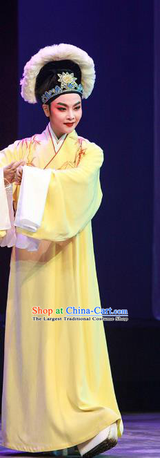 Legend of White Snake Chinese Yue Opera Scholar Apparels Costumes and Headwear Shaoxing Opera Young Male Xu Xian Embroidered Yellow Robe Garment