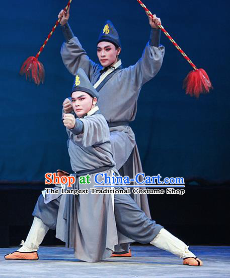 Legend of White Snake Chinese Yue Opera Wusheng Apparels Costumes and Headwear Shaoxing Opera Martial Male Monk Garment