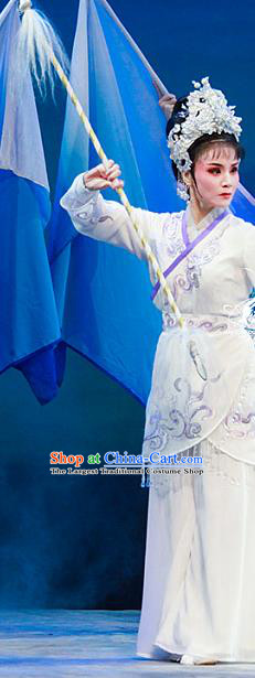 Chinese Shaoxing Opera Martial Female Actress Bai Suzhen Dress Garment Costumes and Headdress Legend of White Snake Yue Opera Wudan Apparels