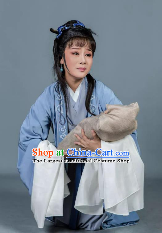 Chinese Shaoxing Opera Tsing Yi Dress Baozheng Tears Hua Tan Costumes and Headpieces Yue Opera Distress Maiden Garment Apparels
