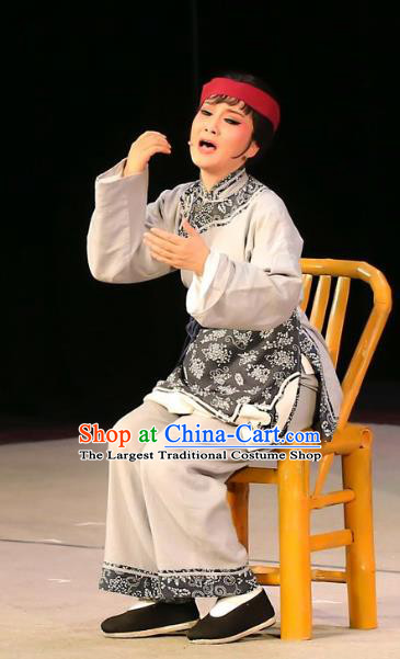 Chinese Shaoxing Opera Servant Female Garment Costumes and Headdress Mistress Xiang Lin Yue Opera Apparels