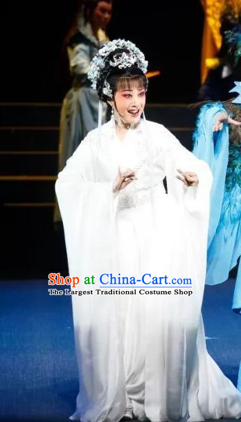 Chinese Shaoxing Opera Actress Young Female Apparels Costumes and Headdress The Story of Goddess Yue Opera Hua Tan Su Nv Garment