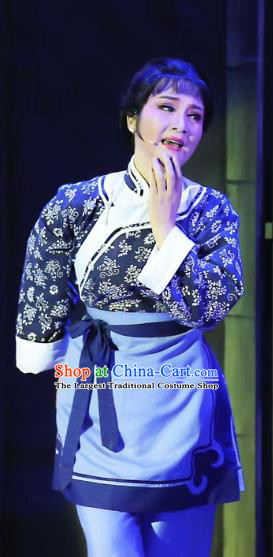 Chinese Shaoxing Opera Country Woman Costumes and Headpieces Mistress Xiang Lin Yue Opera Servant Female Apparels Garment