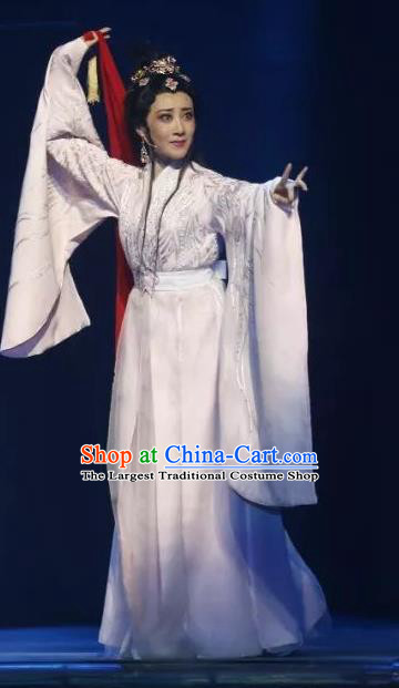 Chinese Shaoxing Opera Actress White Dress Costumes and Headpieces The Story of Goddess Yue Opera Hua Tan Su Nv Garment Apparels