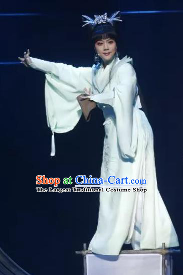Chinese Shaoxing Opera Young Lady White Dress Apparels Costumes and Headpieces The Story of Goddess Yue Opera Wudan Garment