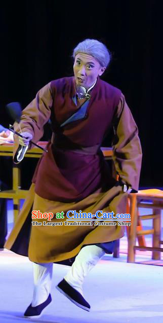 Mistress Xiang Lin Chinese Yue Opera Old Man Apparels Costumes and Headwear Shaoxing Opera Elderly Male Garment