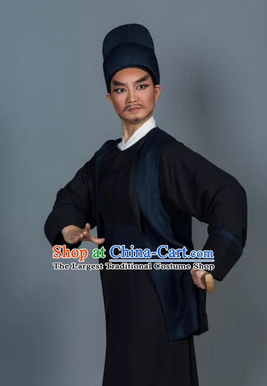 Chinese Yue Opera Martial Man Swordsman Apparels and Hat Shaoxing Opera Wusheng Garment Baozheng Tears Bodyguard Wang Chao Costumes