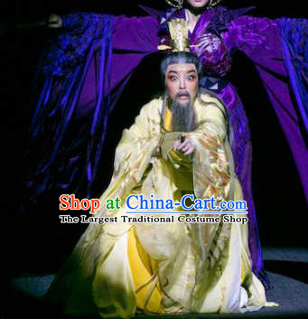 The Story of Goddess Chinese Yue Opera Emperor Huang Di Apparels and Headwear Shaoxing Opera Old Man Garment Costumes