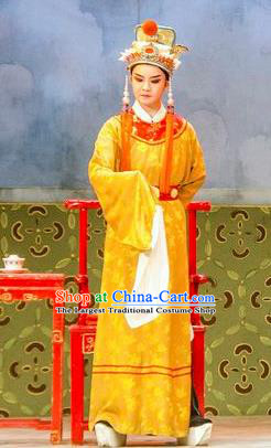 Hua Zhong Jun Zi Chinese Yue Opera Young Male Apparels and Headwear Shaoxing Opera Eunuch Garment Costumes