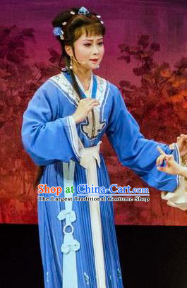 Chinese Shaoxing Opera Young Female Blue Dress Apparels Costumes and Hair Accessories Yue Opera Hua Zhong Jun Zi Actress Garment