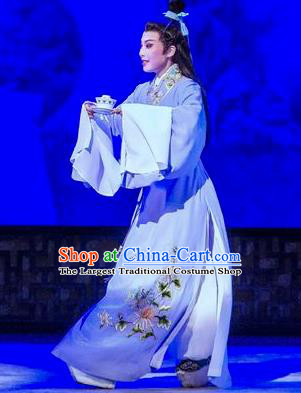 Hua Zhong Jun Zi Chinese Yue Opera Young Male Li Fengming Apparels and Headwear Shaoxing Opera Scholar Garment Costumes