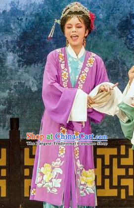 Chinese Shaoxing Opera Young Mistress Dress Apparels Costumes and Hair Accessories Yue Opera Noble Female Hua Zhong Jun Zi Garment