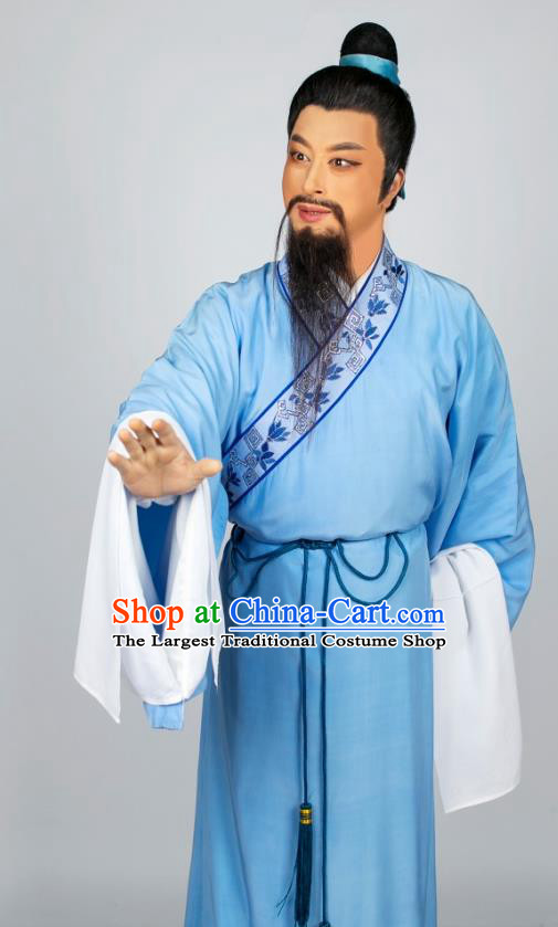 Hua Zhong Jun Zi Chinese Yue Opera Laosheng Apparels and Headwear Shaoxing Opera Elderly Male Scholar Garment Costumes