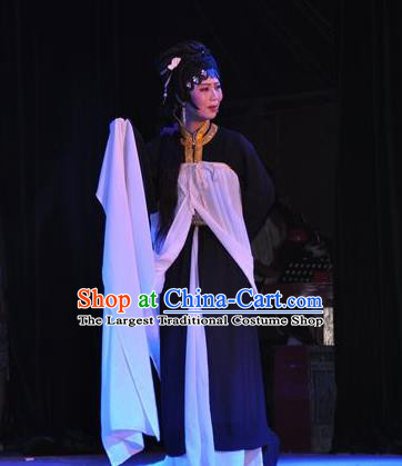 Chinese Shaoxing Opera Tsing Yi Qin Xianglian Dress Garment Apparels and Headdress Tian Dao Zheng Yi Yue Opera Actress Distress Maiden Costumes