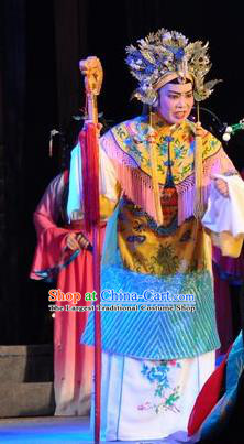 Chinese Shaoxing Opera Dowager Countess Dress Garment and Headdress Tian Dao Zheng Yi Yue Opera Elderly Dame Apparels Costumes