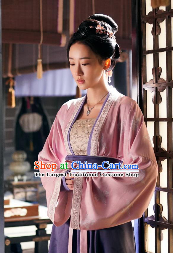 Chinese Song Dynasty Imperial Consort Costumes Historical Drama Serenade of Peaceful Joy Ancient Noble Concubine Xu Garment and Headpieces