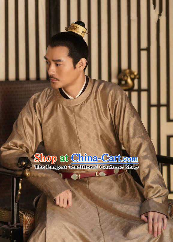 Traditional Chinese Song Dynasty Emperor Historical Costumes and Headpieces Drama Serenade of Peaceful Joy Ancient Renzong Apparels