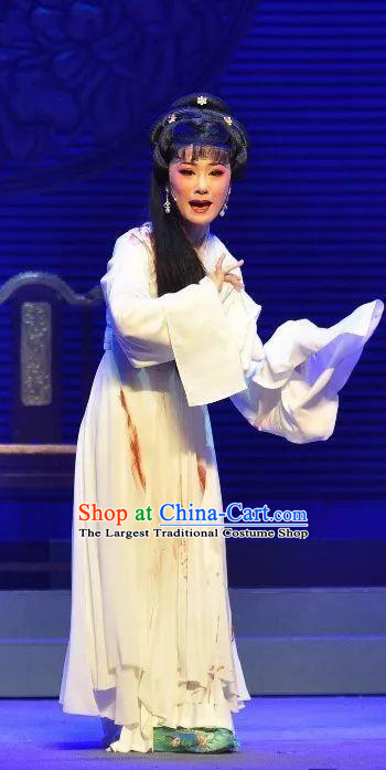 Chinese Shaoxing Opera Distress Maiden Garment Costumes and Headdress Palm Civet for Prince Yue Opera Imperial Consort Li White Dress Apparels