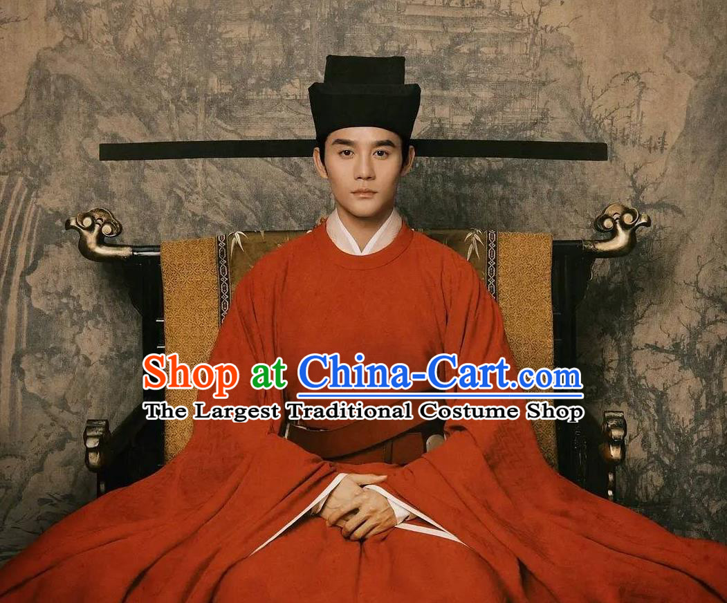 Traditional Chinese Ancient Renzong Zhao Zhen Historical Costumes Drama Serenade of Peaceful Joy Song Dynasty Emperor Imperial Robe and Hat