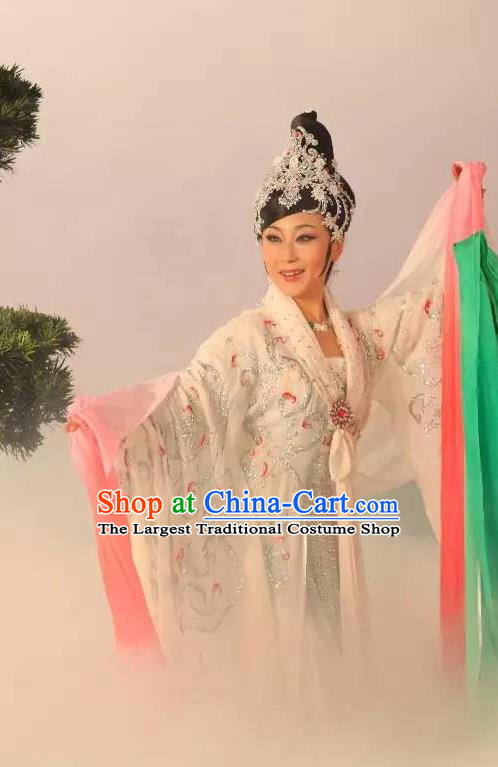 Chinese Shaoxing Opera Fairy Bai Suzhen Garment Costumes and Headdress Legend of White Snake Yue Opera Hua Tan Actress Dress Apparels