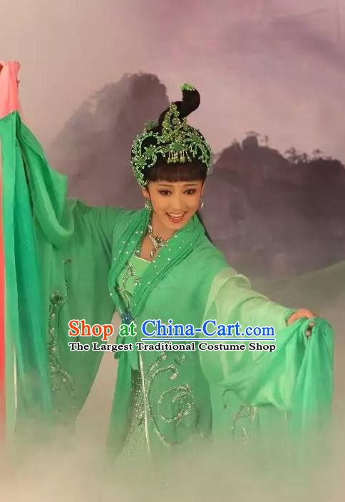 Chinese Shaoxing Opera Young Lady Xiao Qing Garment Costumes and Headdress Legend of White Snake Yue Opera Actress Green Dress Apparels