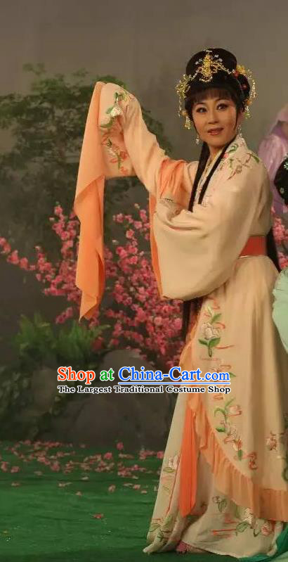 Chinese Shaoxing Opera Hua Tan Apparels Costumes and Headpieces Legend of White Snake Yue Opera Actress Bai Suzhen Dress Garment