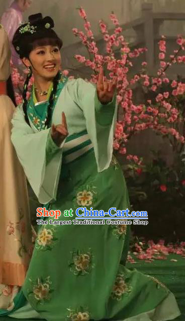 Chinese Shaoxing Opera Servant Girl Garment Apparels and Headpieces Legend of White Snake Yue Opera Xiao Dan Green Dress Costumes