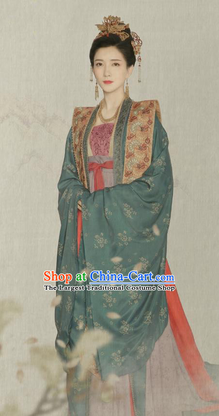Traditional Chinese Ancient Royal Queen Cao Danshu Historical Costumes Drama Serenade of Peaceful Joy Song Dynasty Empress Hanfu Dress and Hair Jewelry