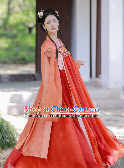 Traditional Chinese Tang Dynasty Embroidered Red Hanfu Dress Historical Costumes Ancient Court Lady Garment